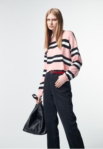 iROO pink Contrast Print Knit Top 77834AA08F154FGS_1