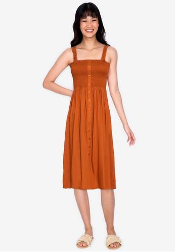 ZALORA BASICS orange Smocked Midi Dress 15CAEAAECB6CA6GS_1