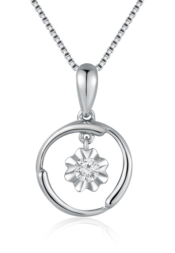 "MaBelle silver 18K White Gold Circle With Dangling Diamond Floral Pendant With Sterling Silver Chain (16"") MA584AC08IHFHK_1"