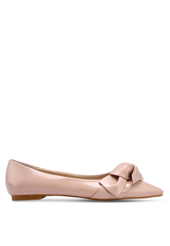 ZALORA pink Pointed Toe Ballerinas With Bow 06A0FSH83F5064GS_1
