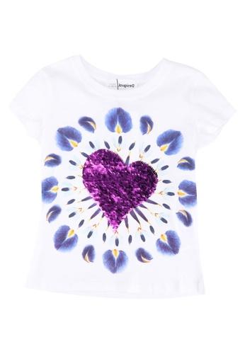 Desigual white Boho Heart Print T-Shirt E2200KA09CB857GS_1