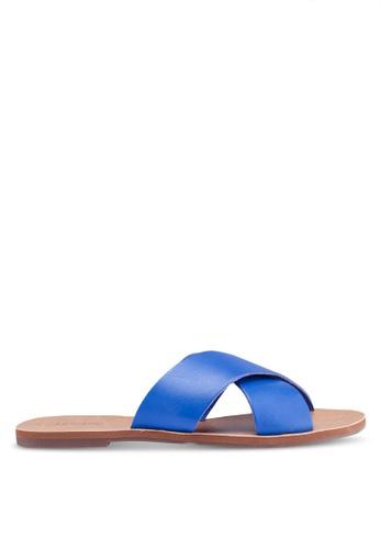 Anacapri 藍色 交叉繞帶平底涼鞋 59295SHA922433GS_1