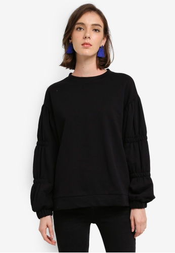 Mango black Ruched Sleeve Sweatshirt 6D197AA101E970GS_1