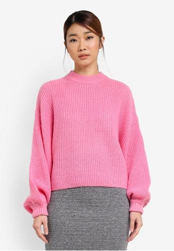 Miss Selfridge pink Volume Sleeve Ribbed Knitted Jumper MI665AA0SHV0MY_1