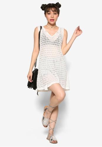 流esprit 見工蘇繫帶透膚蕾絲無袖連身裙, 服飾, 洋裝