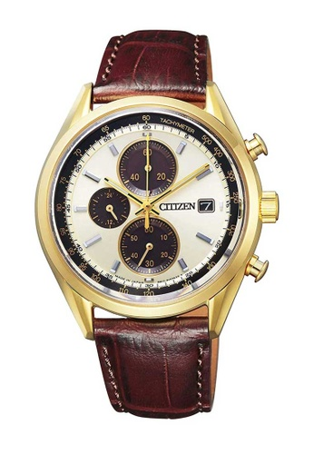 CITIZEN brown Citizen Eco-Drive White, Gold and Brown Leather Watch ECE01ACFF0F7A2GS_1
