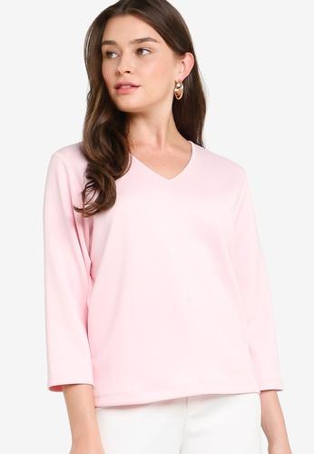 ZALIA BASICS 粉紅色 V-Neck Basic Top 2672EAA6B1F977GS_1