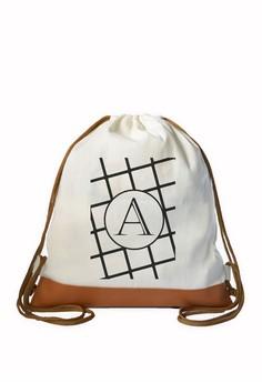 Drawstring Bag Minimalist Initial A