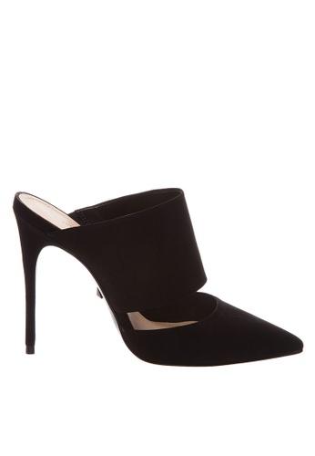 SCHUTZ black Black Nubuck High Heel Mule - MELISSA [BLACK] 1A665SH98850D7GS_1