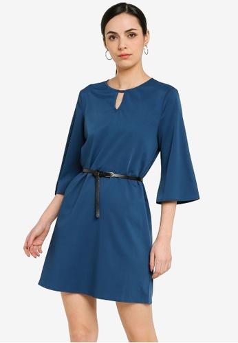 ZALORA WORK green Notch Neck Dress With Belt 309D1AA5936E40GS_1