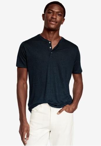 MANGO Man blue 100% Linen Henley T-Shirt D58C4AABC53248GS_1