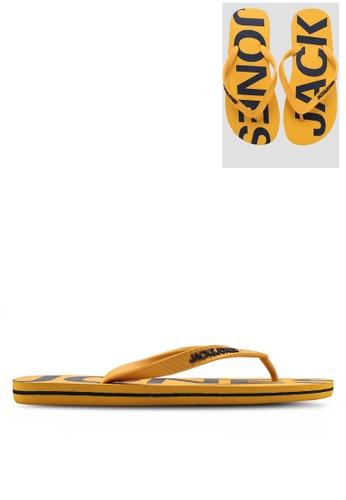 Jack & Jones yellow Logo Flip Flops B3522SH67E56F4GS_1