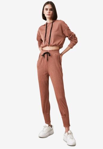 Trendyol brown Top-Bottom Textured Hooded Sweater Set 97B5FAAC422DB8GS_1