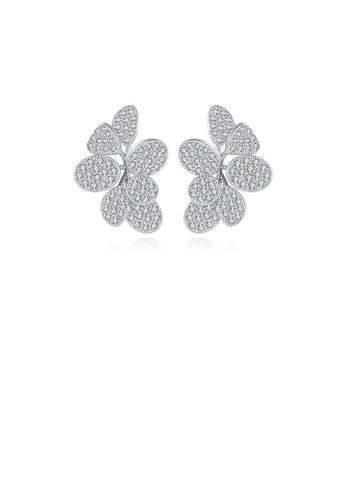 Glamorousky white Fashion and Elegant Flower Stud Earrings with Cubic Zirconia 4296FAC41D7312GS_1