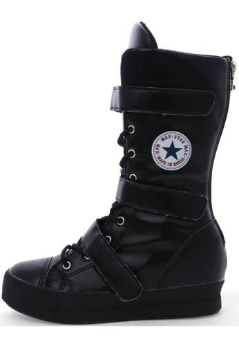 Maxstar Maxstar C2 3 Belts Hidden Heel Platform PU Sneakers Middle Boots US Women Size MA168SH67USEHK_1