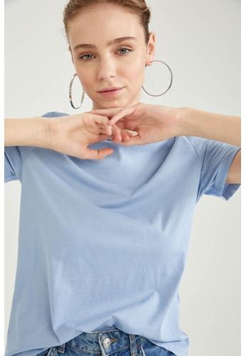 DeFacto blue Woman Knitted Short Sleeve T-Shirt F8FB1AA29859EFGS_1