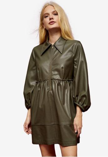 TOPSHOP brown IDOL Khaki PU Oversized Zip Shirt Dress B706EAA08CFCB3GS_1