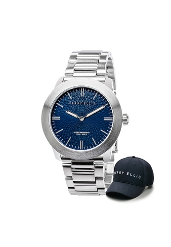 Perry Ellis silver Perry Ellis Slim Line Unisex 42mm Quartz Stainless Steel Watch 07002-02 with Perry Ellis Cap 6FB3FACB8871D9GS_1