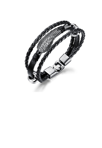 Glamorousky silver Fashion Punk 316L Stainless Steel Feather Black Leather Multi-layer Bracelet 6D8DCACF9DF900GS_1