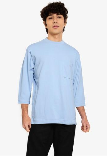 GLOBAL WORK blue 3/4 Sleeves T-Shirt 99CC7AA5AE22B5GS_1