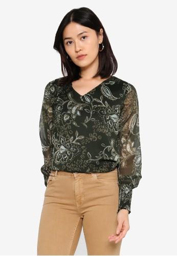 ONLY green Nana Long Sleeve V-Neck Top C20DBAADB84816GS_1