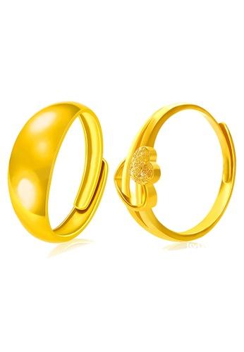YOUNIQ gold YOUNIQ Premium Smooch Cupid 24K Plated Ring Set- Couple Rings (Gold) YO999AC25NQGMY_1
