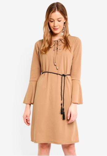 Mela London beige Eyelet Tie Up Dress AC501AA56B2808GS_1