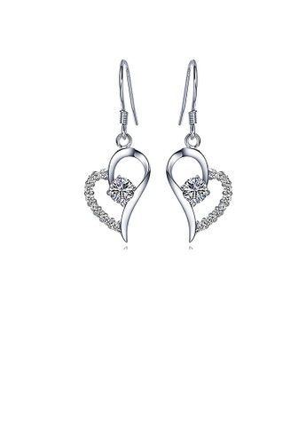 Glamorousky white Flashing 925 Sterling Silver Heart-shaped Earrings with White Cubic Zircon 1881AACEFE8437GS_1