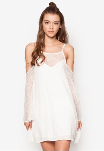 挖肩esprit地址蕾絲長袖洋裝, 服飾, 洋裝