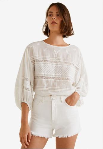 Mango white Frayed Hem Denim Shorts D3038AAA4053EBGS_1