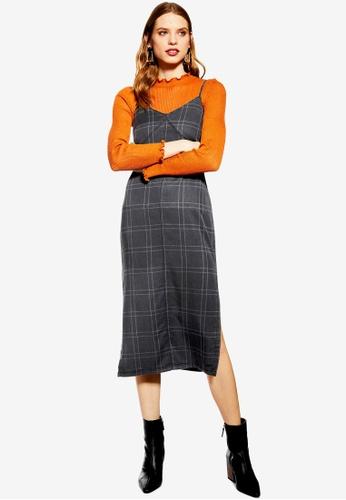 cd83e4ac5996 Buy TOPSHOP Check Denim Midi Dress | ZALORA HK