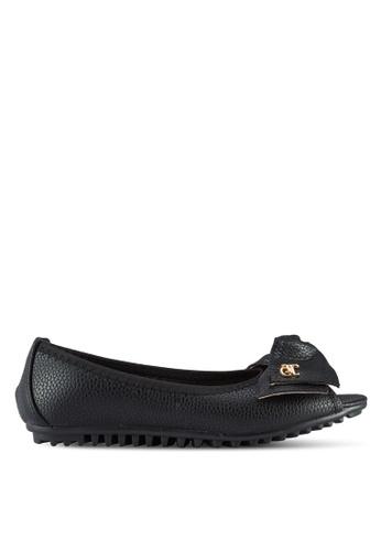 kiki black Peep Toe Flats KI061SH24VUPMY_1