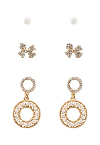 Red S Revenge 3 In 1 Perfect Pearl Dangle Stud Earrings Set Online On Zalora Singapore