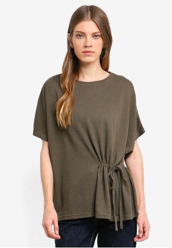 Brave Soul green Drawstring Detail Mid Sleeve T-Shirt B9630AA56F7C49GS_1
