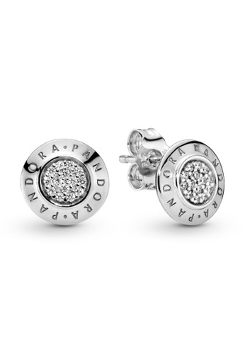 PANDORA silver Sparkling Pandora Logo Stud Earrings B380FAC095CAA9GS_1