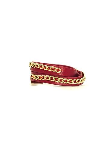 Istana Accessories red Gelang Gwen PU Leather Fashion Bracelet - Merah 02ECFAC9B4E9A3GS_1