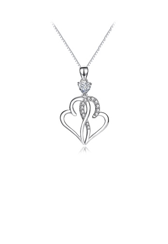 Glamorousky white 925 Sterling Silver Fashion Simple Double Heart Pendant with Cubic Zirconia and Necklace 279C2ACFF5AF91GS_1