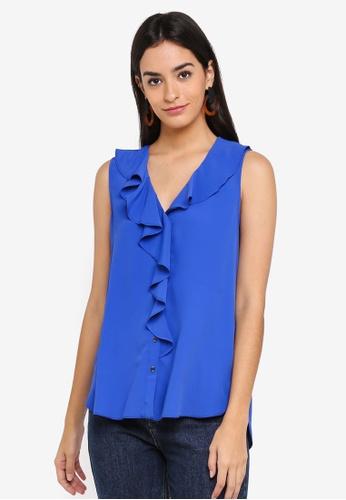 Dorothy Perkins blue Cobalt Ruffle Front Shirt 4E1D3AAE44DBC1GS_1