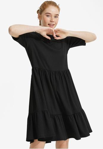 KOTON black Tiered Short Dress 231E7AAB6A274CGS_1