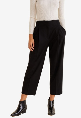 MANGO black Flowy Straight-Fit Trousers AB754AA67725EFGS_1