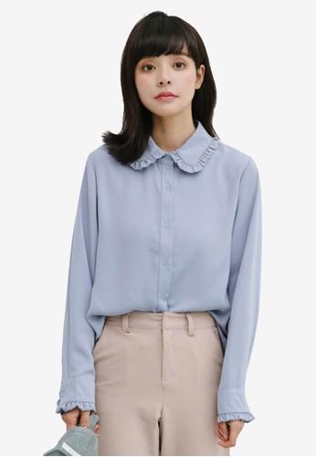 Shopsfashion blue Ruffle Hem Shirt 7B059AAC2DE696GS_1