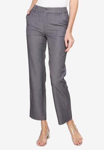 Hopeshow grey High Waist Slim Fit Trousers CB3DFAA731DAA0GS_1