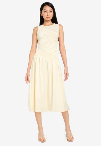 Urban Revivo 黃色 高雅鉛筆洋裝 C1C29AA0537309GS_1
