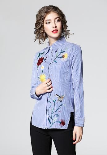 NBRAND blue Long Sleeve Embroidery Striped Shirt NB356AA0GQMKSG_1