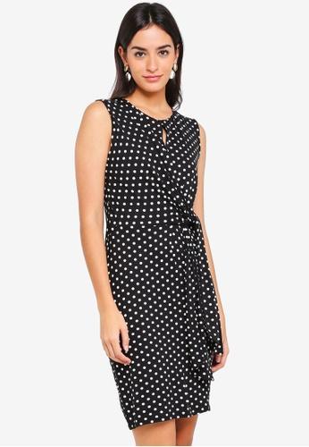 Shop Wallis Petite Black Polka Dot Tie Dress Online On Zalora