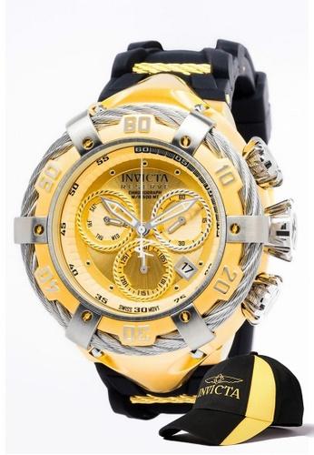 INVICTA gold Invicta Bolt Men 54.5mm Case  Stainless Steel, Silicone Strap  Dial Quartz Watch 21366 w/ Cap 1DB77AC32E80B6GS_1