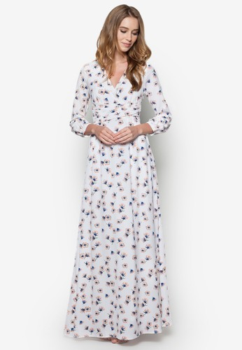 Hestia 花卉圖案裹飾長洋裝, 韓系時尚, 梳esprit 京站妝