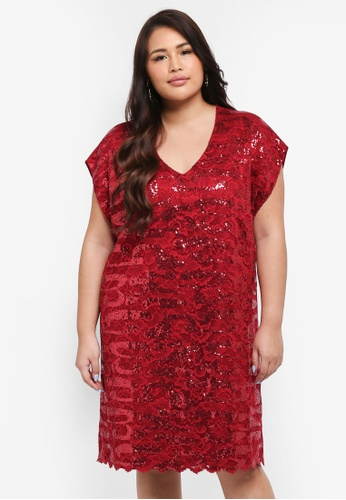 Goddiva red Plus Size Sequin & Lace Shift Dress ACF85AAB5CB130GS_1