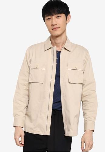 ZALORA BASICS beige Zip Through Jacket 60488AA3EC7978GS_1