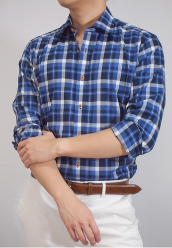 Max Rafael blue and navy Navy Blue Check Shirt MA991AA02DONSG_1